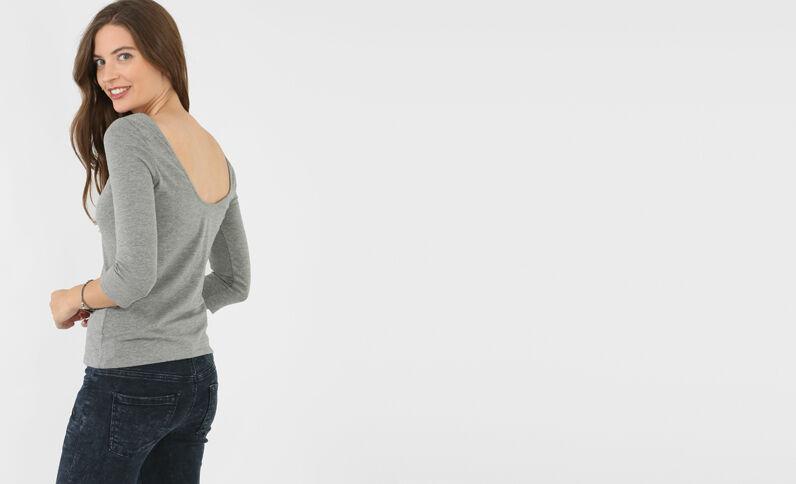 T-shirt scollata sul dorso grigio chiné