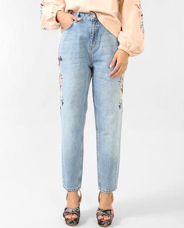 Jeans mom bordados azul