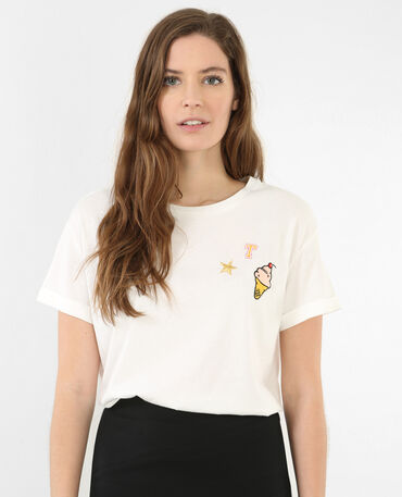 T-shirt con patch bianco sporco