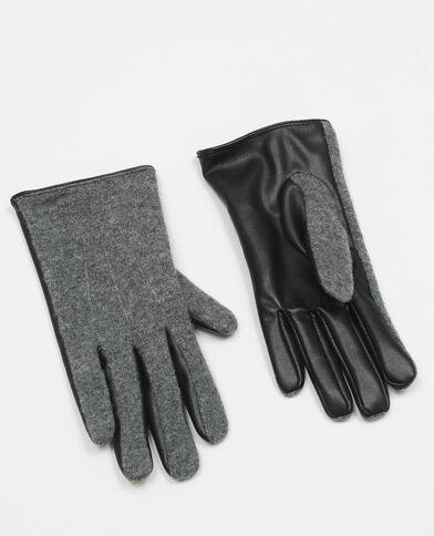 Handschoenen uit twee materialen zwart