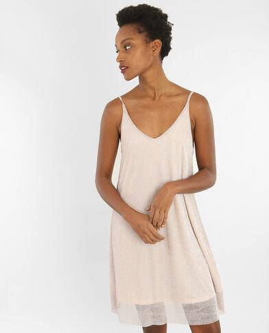Fließendes Kleid mit Lurex Hellrosa