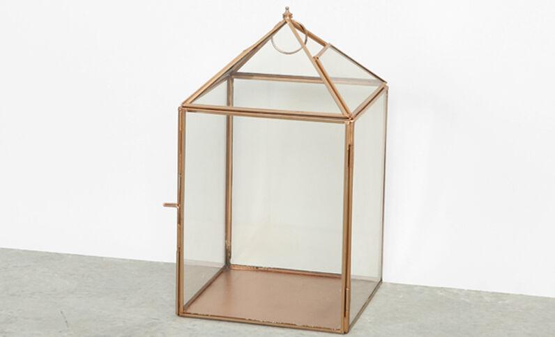 Portacandele vetro e metallo dorato