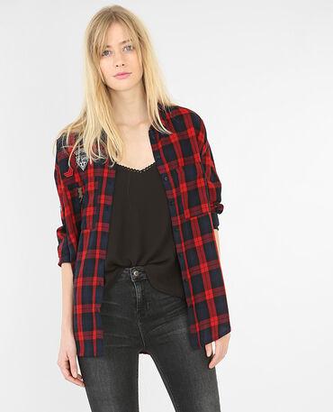 Chemise carreaux à patchs rouge