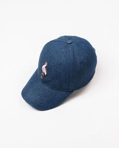 Denimpet met patch blauw