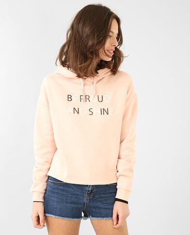 Sweater met opschrift. Roze