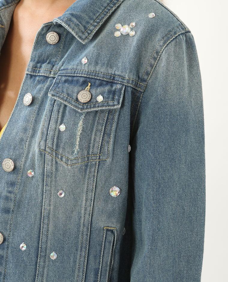 Veste en jean à strass bleu denim