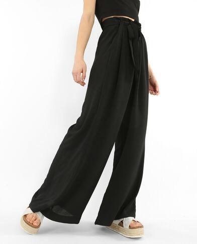Pantalone ampio effetto crêpe nero