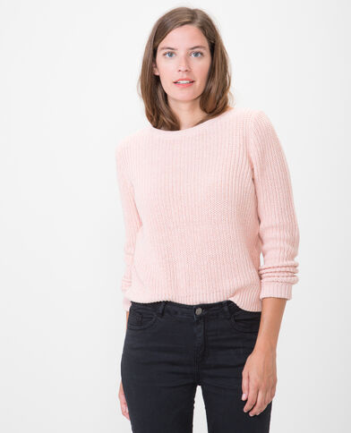Pull à grosse maille rose