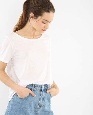 T-Shirt mit Raw-Cut-Kragen Altweiß