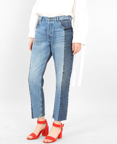 Jeans mom bicolore blu denim