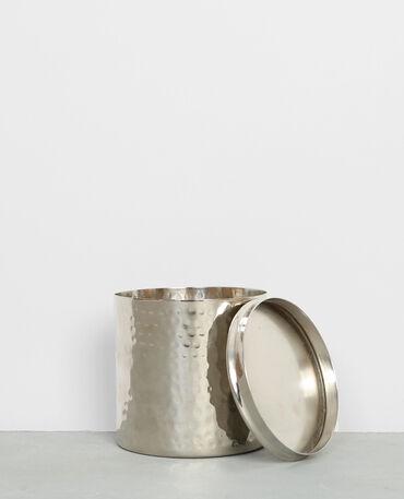 Pot métallique à couvercle rose