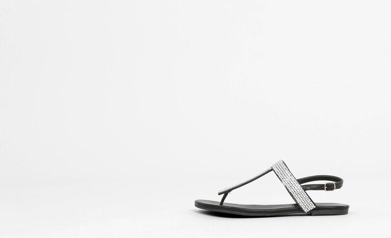 Nu-pieds à strass noir