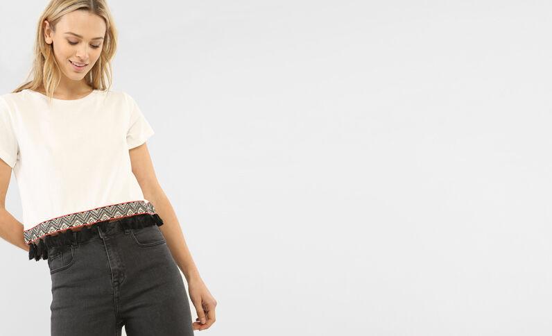 T-shirt cropped pompons blanc cassé