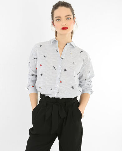 Camisa a rayas bordada blanco