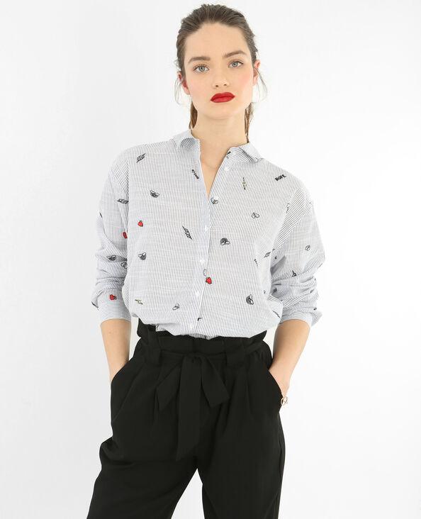 Hemd mit gestickten Streifen Weiß