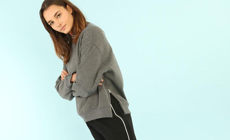 Oversized-Sweatshirt Grau