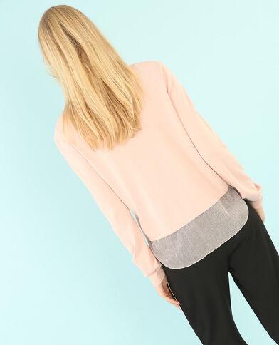 Pullover mit Voile und Lurex Rosa