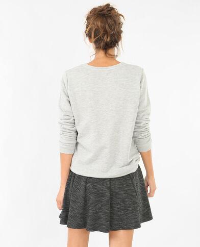 Sweatshirt bestickt mit Lurex Grau meliert