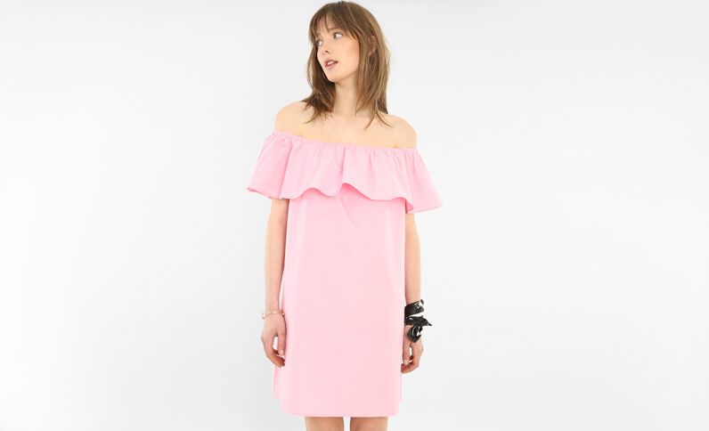 Abito popeline collo bardot rosa