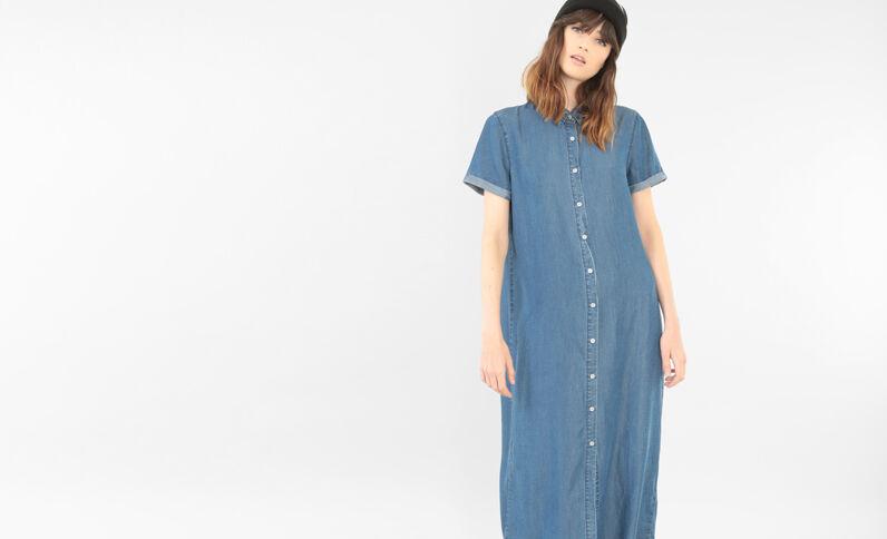 Robe chemise longue bleu