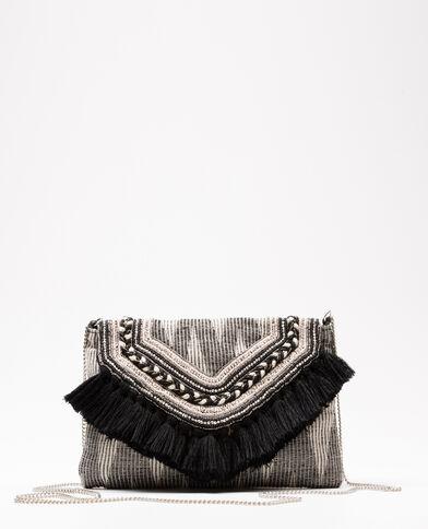 Kleine Handtasche mit Perlen und Pompons Schwarz