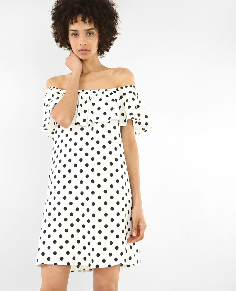 Kleid mit Bardot-Ausschnitt Weiß