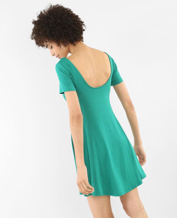 Trapez-Kleid mit rundem Ausschnitt am Rücken Tannengrün