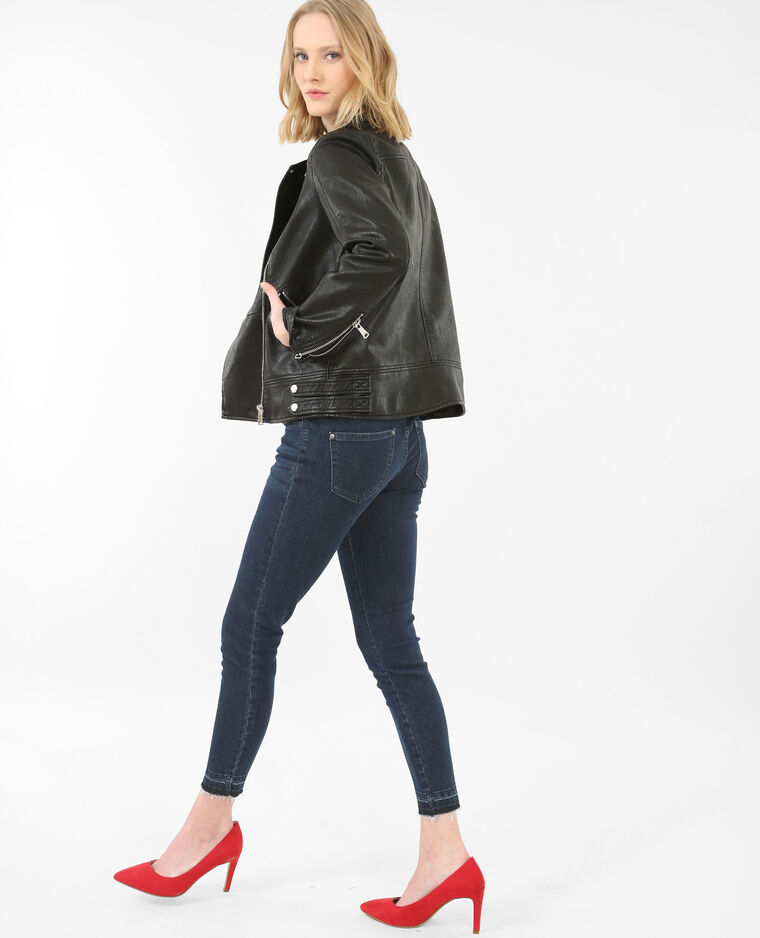jean skinny 7 8 taille haute bas d cousus bleu 140188696a06 pimkie. Black Bedroom Furniture Sets. Home Design Ideas