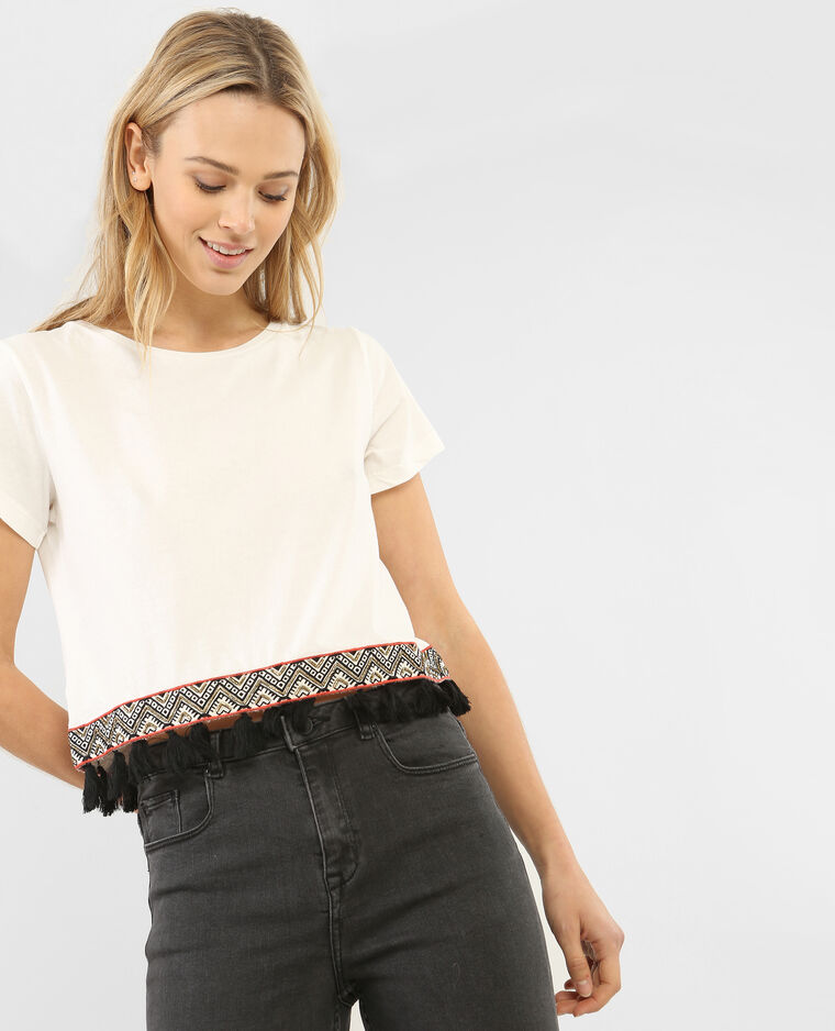 T-shirt cropped pompons - 403502912F4A | Pimkie