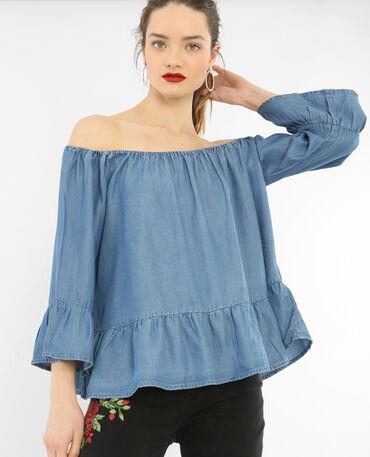 Bluse mit Schößchen Blau
