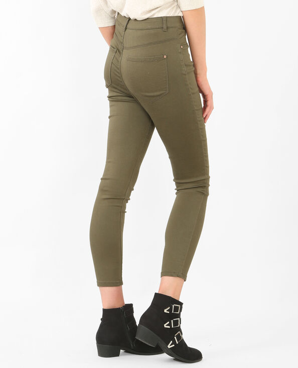 Skinny-Jeans mit hoher Taille Grün