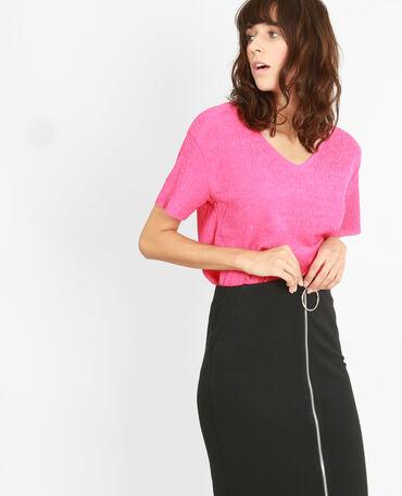 Strukturiertes T-Shirt Rosa