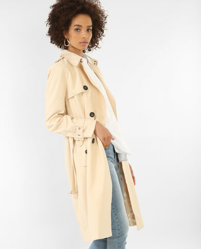 Trench-coat long beige ficelle