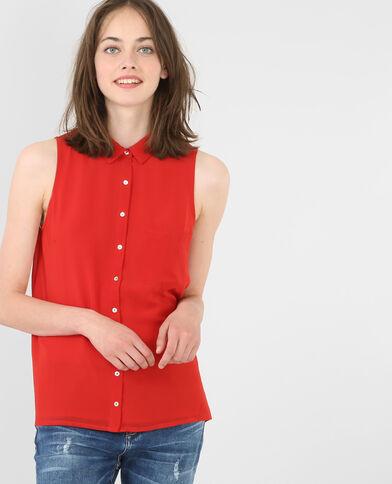 Camicia morbida senza maniche rosso