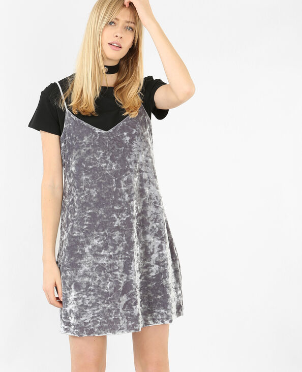 Robe velours style nuisette gris