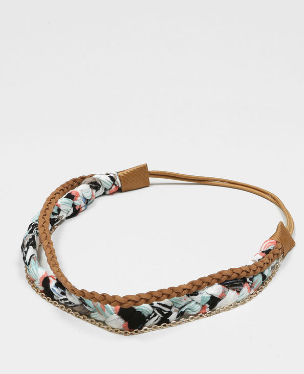 Headband tressé brun