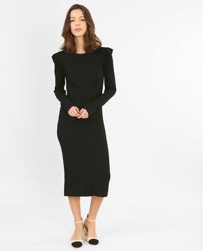 Vestido acanalado con volantes negro