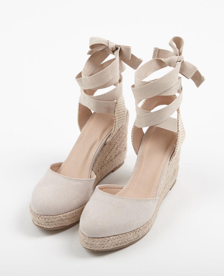 Sandalias con cuña beige grisáceo