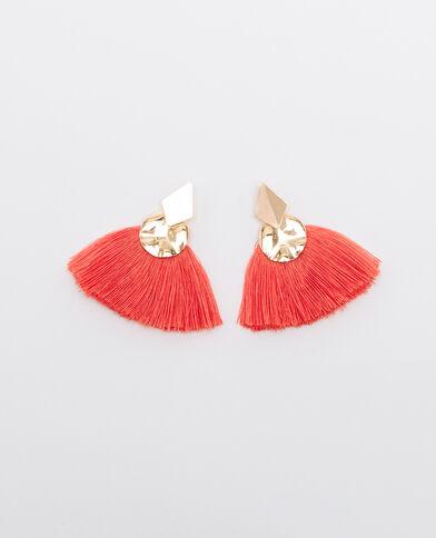Boucles d'oreilles à pompons Pêche