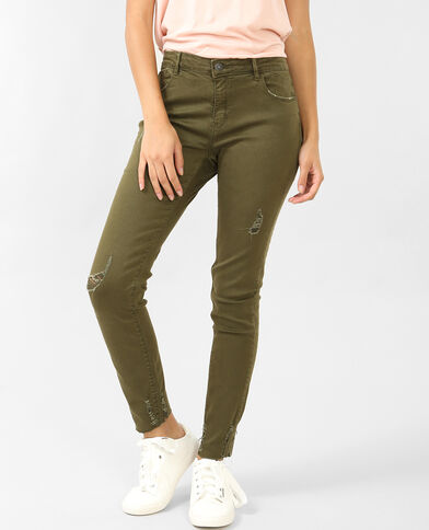 Pantalon skinny destroy kaki
