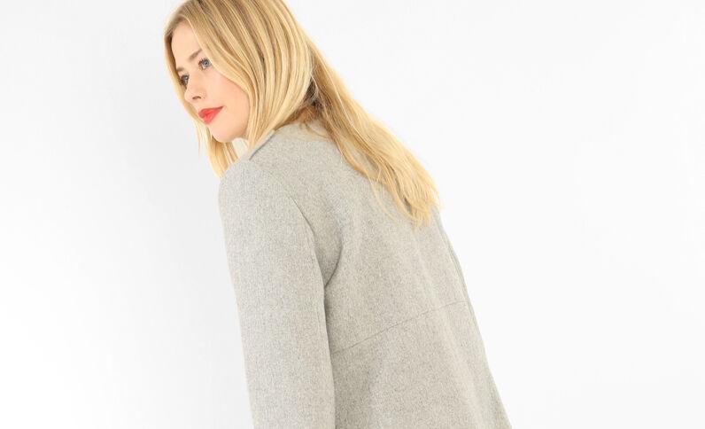 Halblanger Mantel mit Reißverschluss Grau meliert