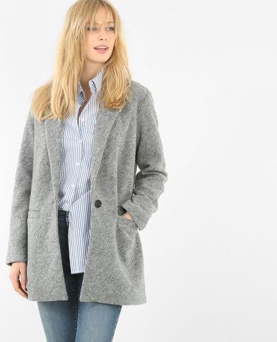 Blazer lungo panno di lana grigio chiné