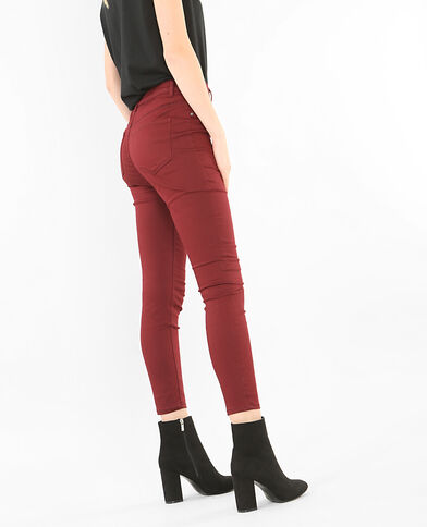 Skinny-Jeans mit hoher Taille Granatrot