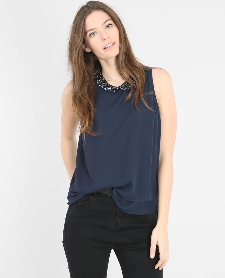 bluse mit schmuck kragen marineblau 568137635a06 pimkie. Black Bedroom Furniture Sets. Home Design Ideas