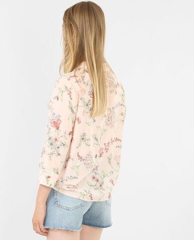 Fleurige blouse in pyjamastijl bleekroze