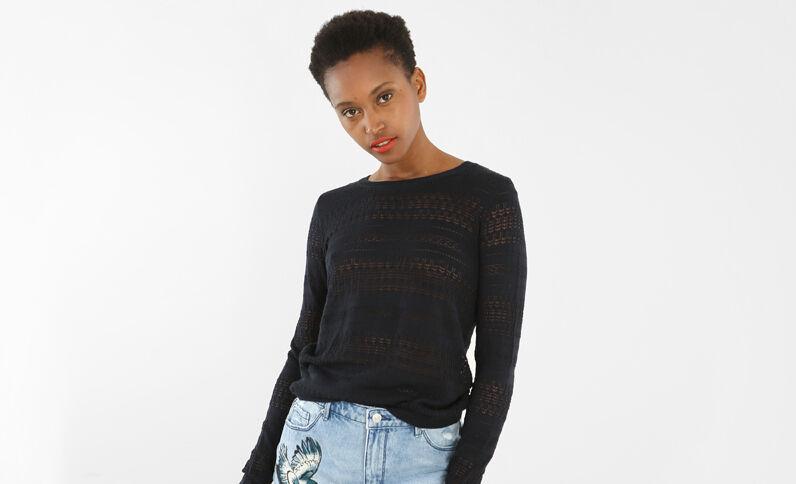 Leichter Pullover mit Ajour-Muster Marineblau