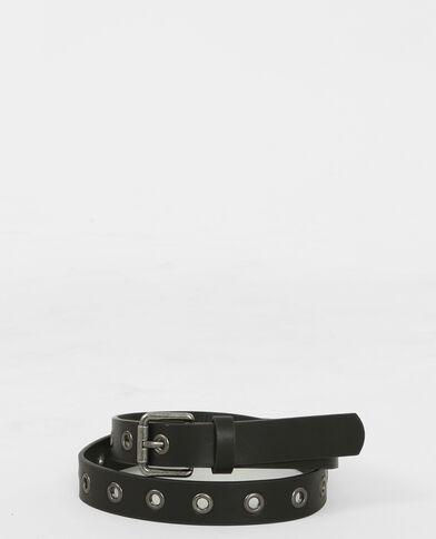 Cinturón con ojetes negro