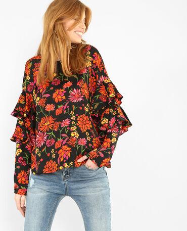 Weich fallende Bluse mit Blumenprint Schwarz