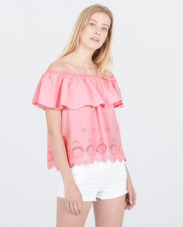 Bestickte Bluse mit Bardot-Ausschnitt Rosa
