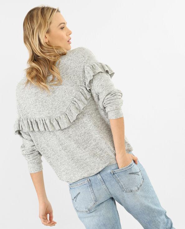 Weicher Pullover mit Rüsche Grau meliert